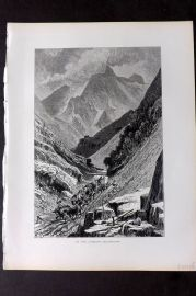 Picturesque Europe 1870s Antique Print. In the Carrara Mountains, Italy